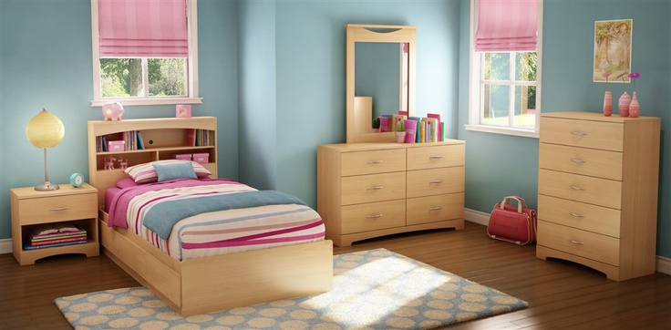 6 Pc Twin Bedroom Set in Natural Maple Finish