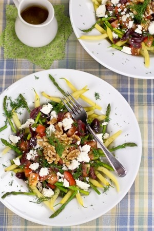 Wax Beans and Asparagus Salad *replace goats with low fat ricotts