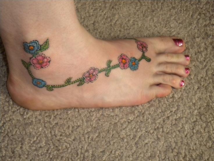 Crocheting Tattoos : crochet flower foot tattoo Tattoo Love Pinterest