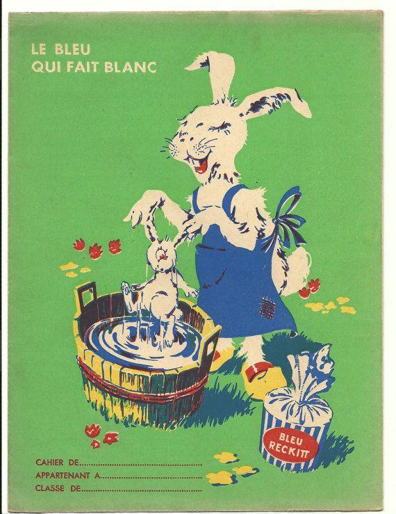 French School Book Cover ~ French school book cover rabbit bath illustration poster