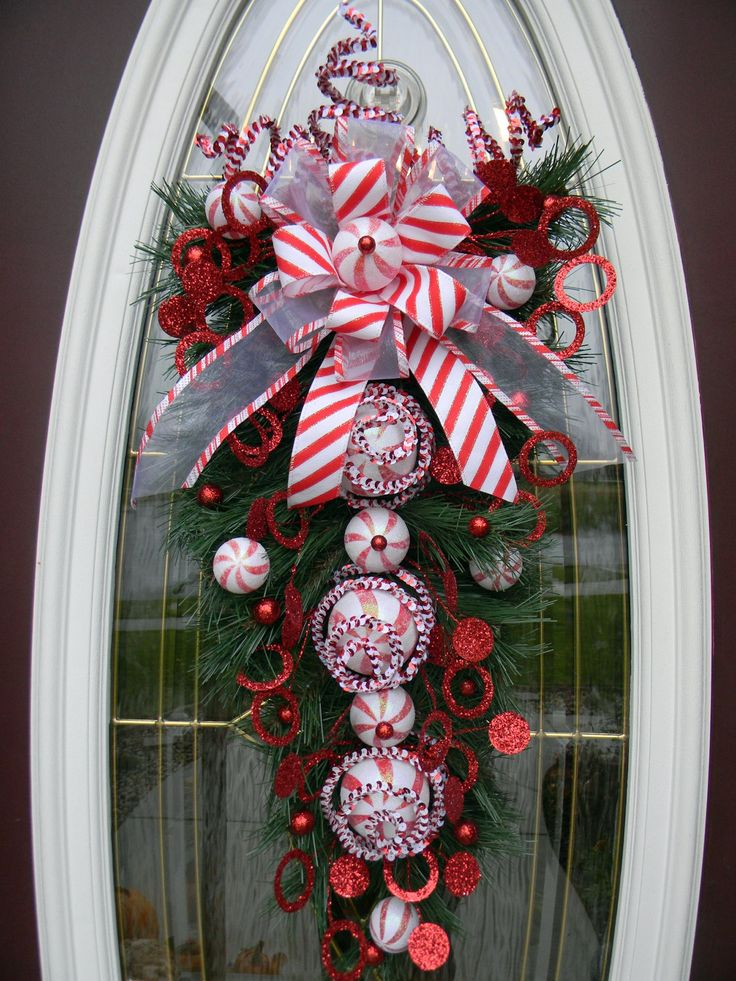 Christmas vertical teardrop holiday door swag peppermint for Door garland christmas
