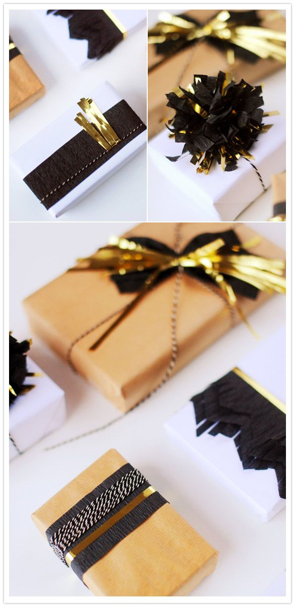 black gold holiday gift wrap