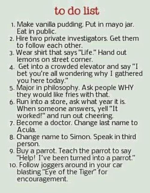 Funny to-do list!