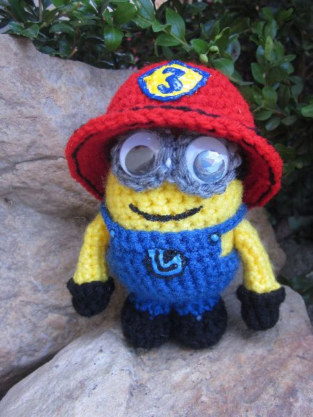 Free Crochet Pattern For Minion Toy : Custom Firefighter Minion Crocheted Toy- Idea- not a free ...