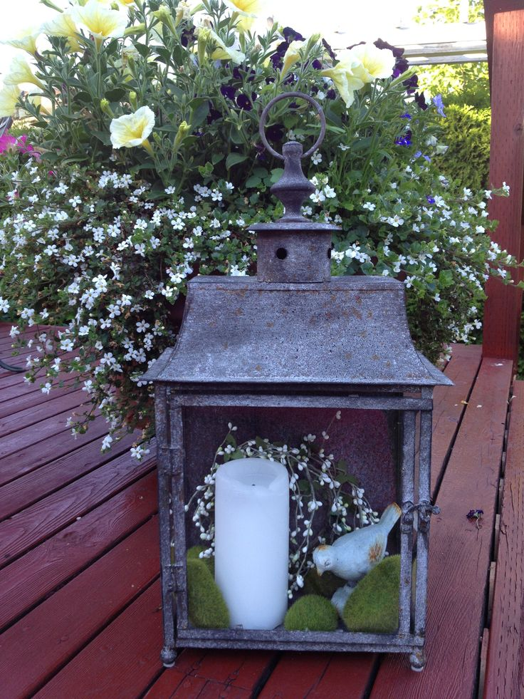 summer lantern decor flower containers pinterest