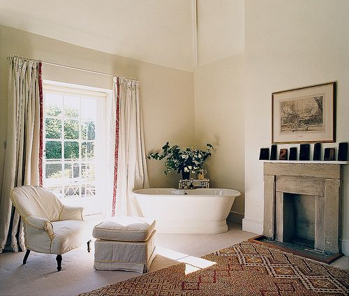 Phony fireplace for Living room? Francois Halard via Vogue {eclectic traditional modern bathroom}
