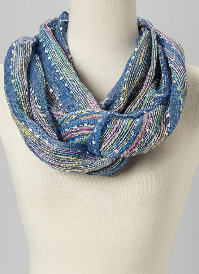 Denim Stripe Infinity Scarf