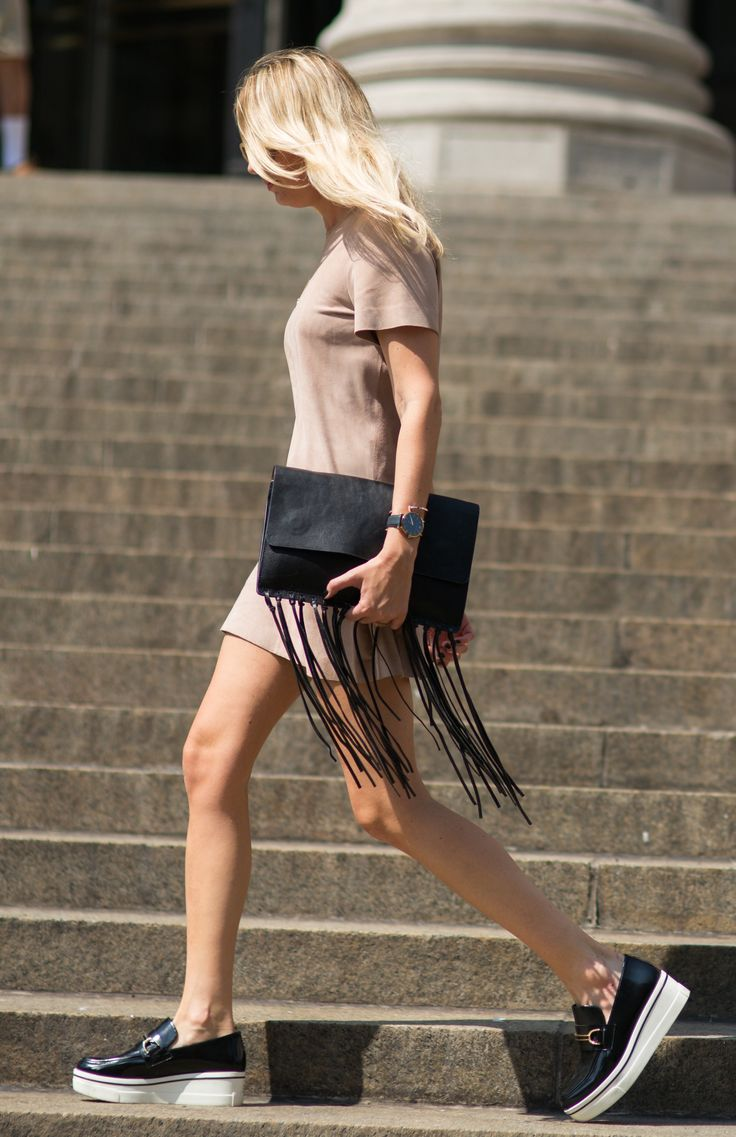 Fun with fringe on the street at NYFW!