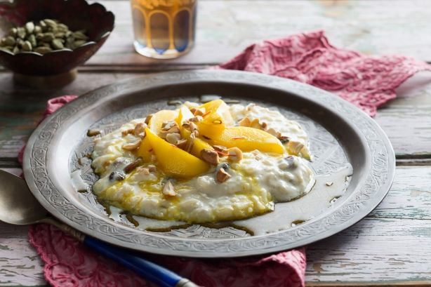 Indian cardamom rice pudding with saffron honey pears - See more at ...