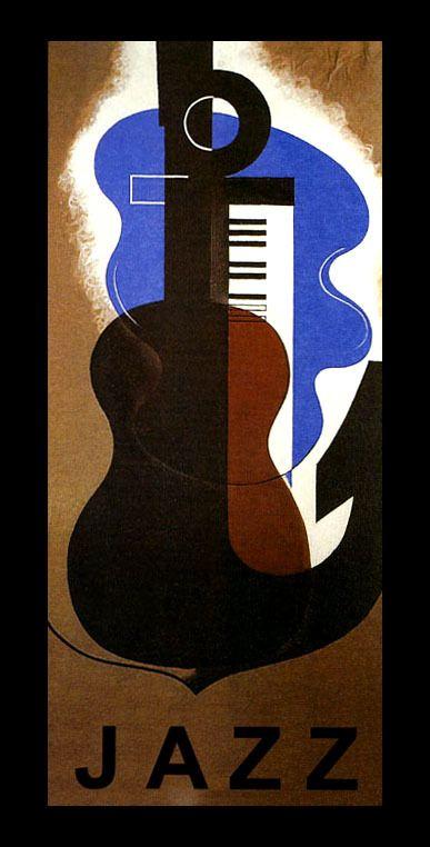 Jazz Guitar Piano Music Art Deco Fashion Style Vintage