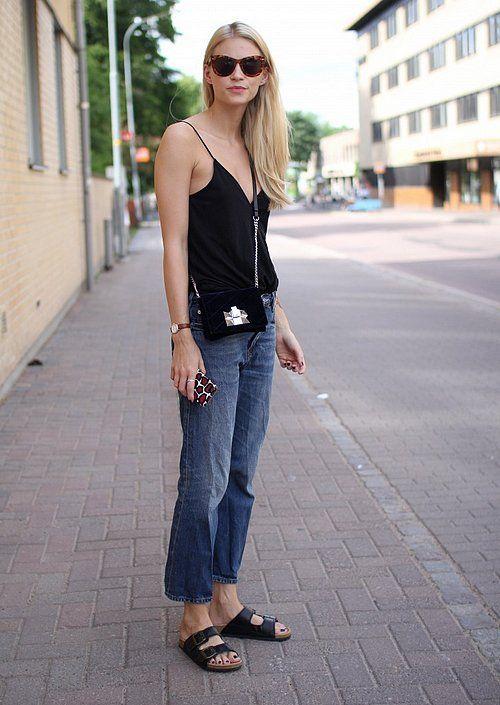Birkenstock Arizona Black Leather Two Strap Sandals $106.70