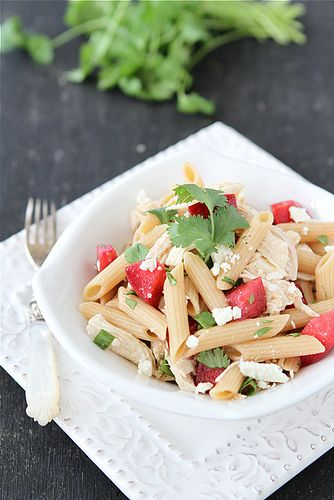 Chicken Pasta Salad Recipe with Plums, Feta & Cumin Dressing...Sweet ...