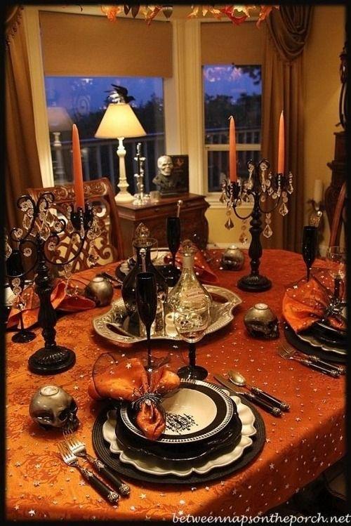 Orange and black halloween dinner party halloween - Deco de table halloween ...