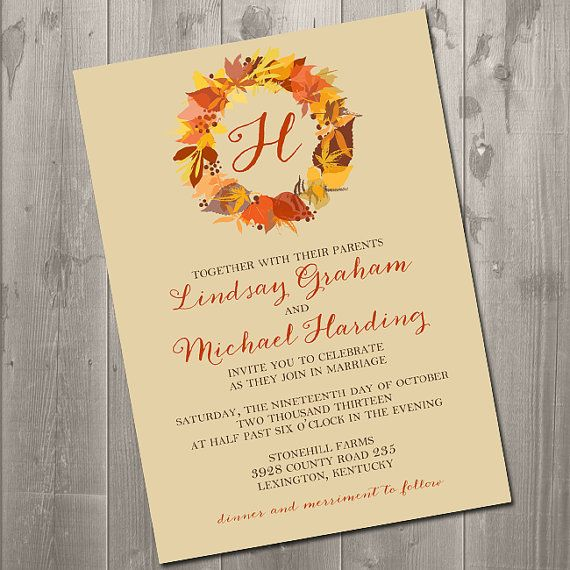 Autumn Wreath Wedding Invitation