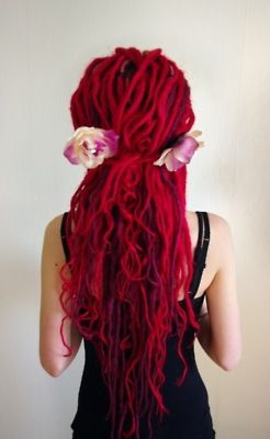 I've always wanted to try dreads and this kinda red. Love it all!
