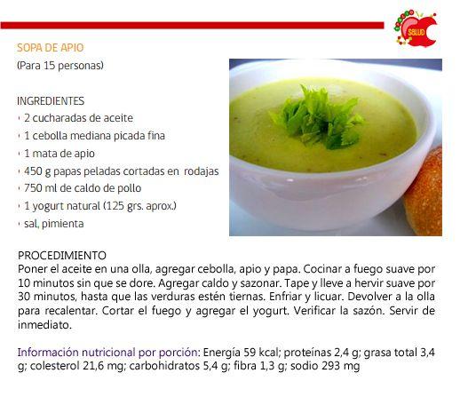 Cenas sin calorías - 4 ideas de sopas ligeras - Sopa de apio