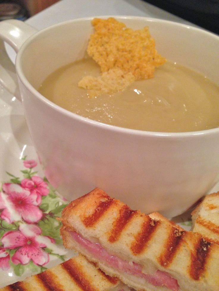 silky cauliflower soup with parmesan chips