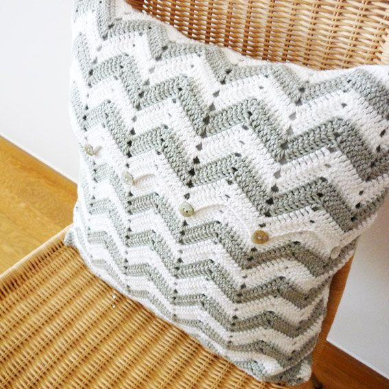 Crochet Pillow Patterns : Chevron Pattern Crochet Pillow Gray White... look at that button flap