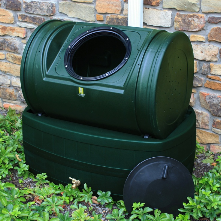 Compost Wizard Hybrid Composter / Rain Barrel - Forest Green - Rotating Composter on top and a Rain Barrel on the bottom! Combining the best of both a composter and a rain barrel, the Compost Wizard Hybrid is cheaper than buying both products separately, and takes up less space. Plus, a great feature is the ability to make compost tea.