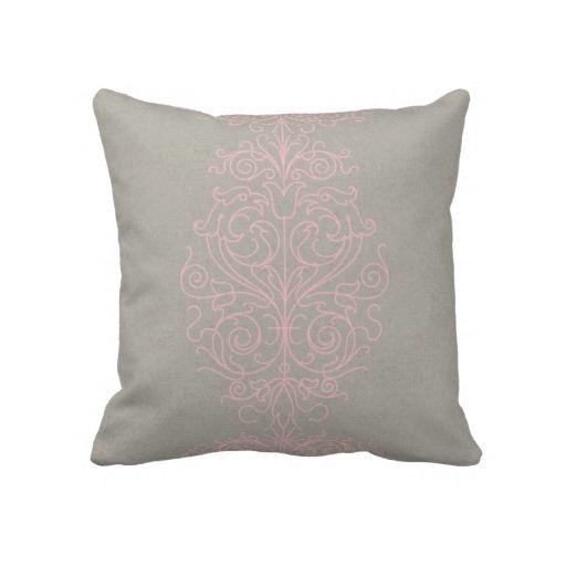 Grey And Pink Decorative Pillows : Pink and Gray Damask Throw Pillow