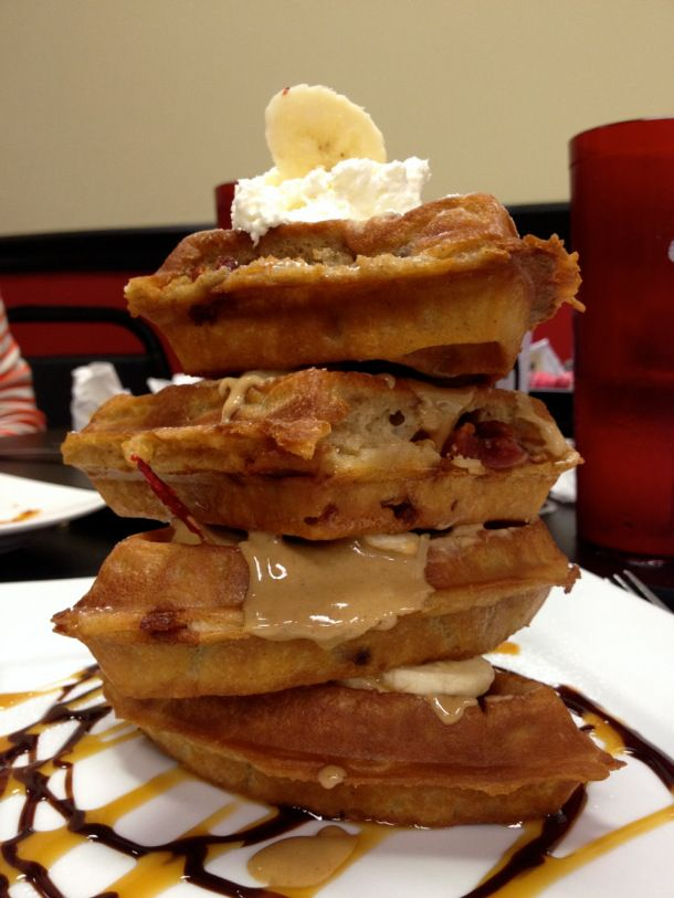 The Elvis Waffle, with candied bacon in the batter, sliced bananas ...