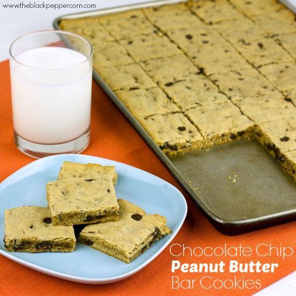 Chocolate Chip Peanut Butter Bar Cookies | cokies | Pinterest