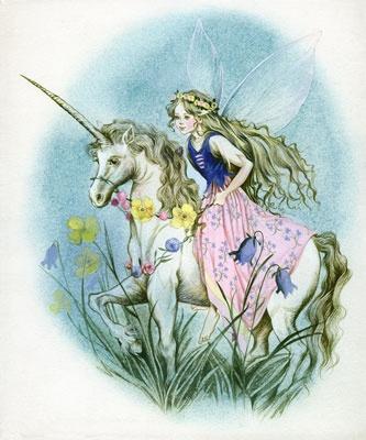 Unicorn fairy wall mural mural painting ideas pinterest for Fairy mural ideas