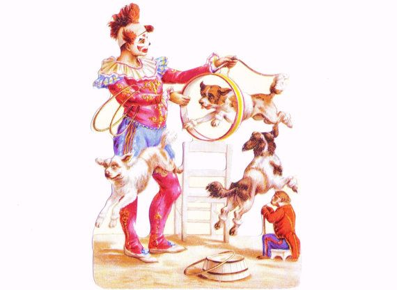 French CLOWN And DOG Circus Act With Monkey Assistant - Reproduction Of Victorian Scrap