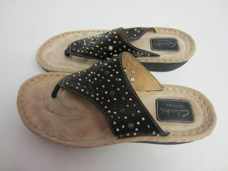 Clarks Artisan Shoes 8 M Black Latin Bolero Sandals Womens