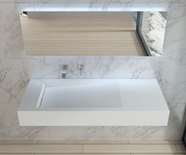 Stone Resin Sink : White Wall Hung Stone Resin Sink modern bathroom sinks