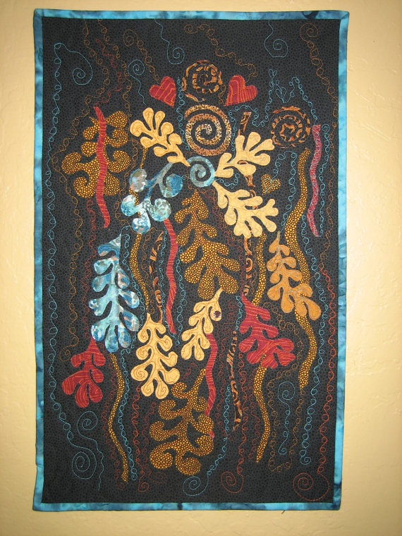Art Quilt Contemporary Abstract Turquoise Vines by TahoeQuilts, $98.00