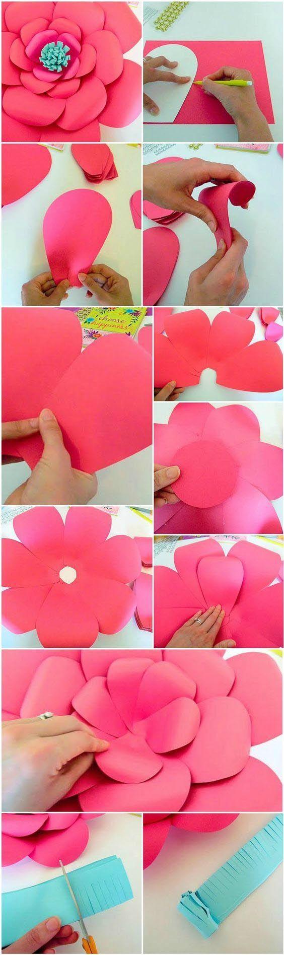 Цветы из бумаги для оформления стены своими руками