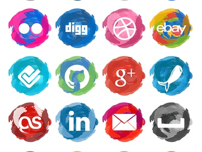 Paint Strokes Social Media Icons | (G)UI + DESIGN | Pinterest: pinterest.com/pin/28147566394227882