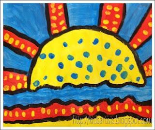 Sunrise in the style of Roy Lichtenstein