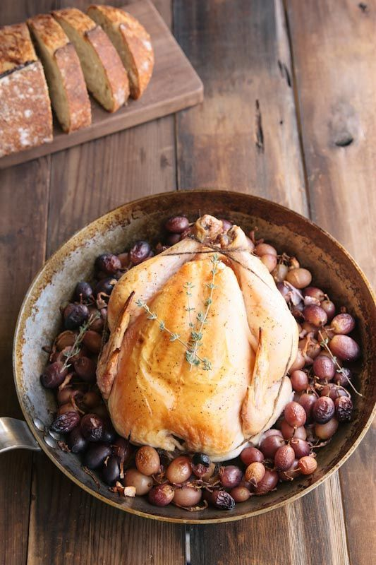 Roast Chicken With Grapes Recipe — Dishmaps
