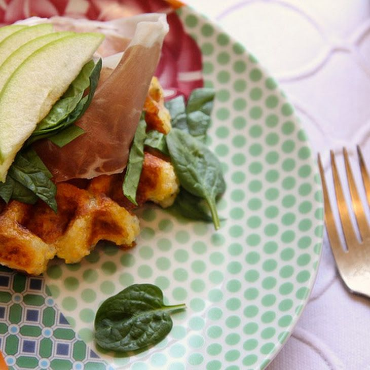 Gluten-free Lunch Waffles with apples and prosciutto Recipe