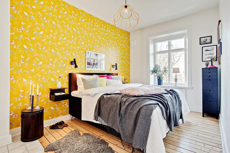 bedroom with bright yellow wall bedroom pinterest