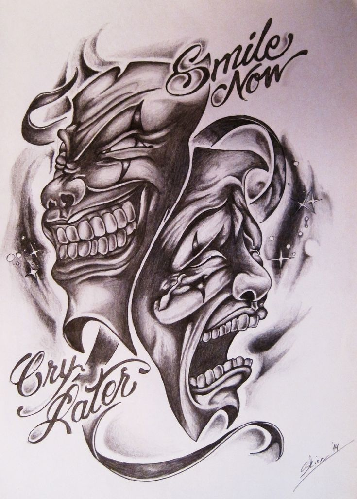 Smile now cry later skull tattoo design