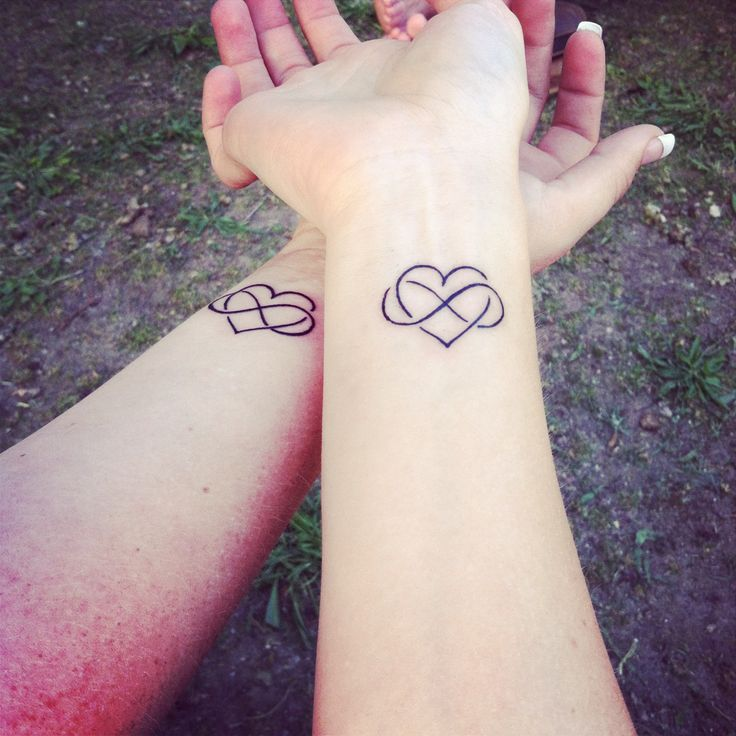 Sister infinity heart tattoo    I m going to get this with my sister Infinity Sister Tattoos With Heart