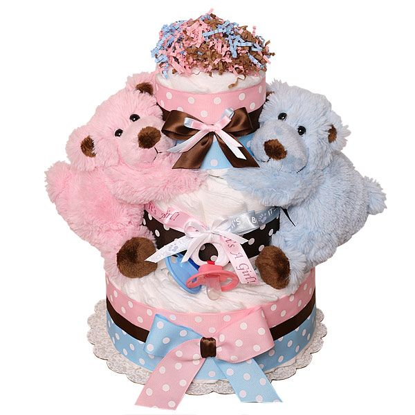 Cake Ideas For Twins Boy And Girl : Boy and Girl Bears Twins Diaper Cake Party Pinterest