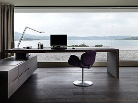 Enchanting home office interior design with l shaped desk and purple