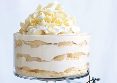 Hoiiday dessert - White Chocolate Tiramisu Trifle with Spiced Pears