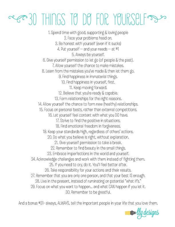 #30things to do for yourself #newyearsresolutions