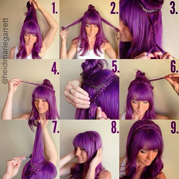 Step-by-step Pictorial For a Double Braided Headband      #hairstyle #purplehair #howto