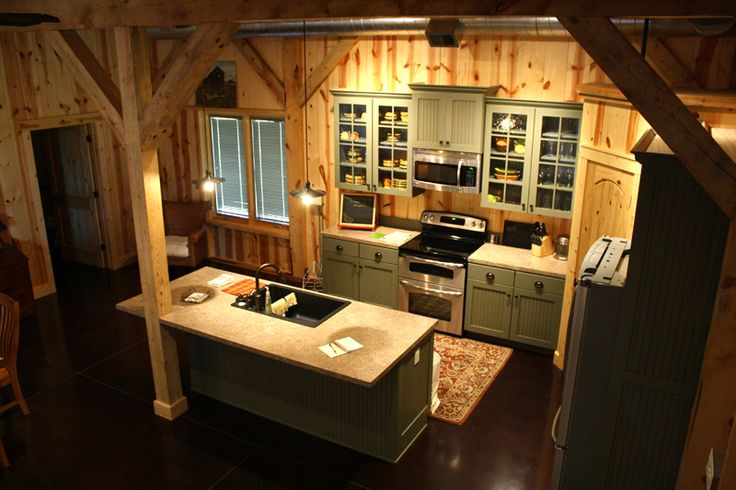 Lodge Kitchen In A Post Beam Barn Https