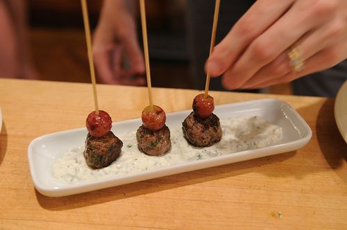 Kefta-Style Meatballs with Grilled Grapes and Yogurt Sauce | Recipe