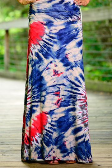 This firework inspired maxi is on point! Perfect for the 4th  or World Cup game! The red, white and blue combo is so fun and edgy!