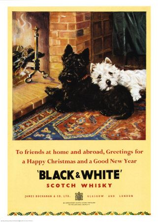 vintage Christmas advertisement for Black & White Scotch Whiskey