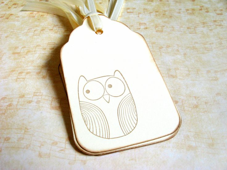 8 Owl Gift Tags Cream Party Favor Tags by CatchSomeRaes on Etsy. $2.00, via Etsy.