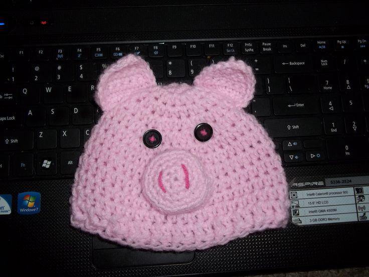 Crochet Pattern Pig Hat : Crochet pig hat Things I made. Pinterest
